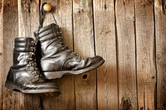 Old shoes on vintage planks Stock Photo