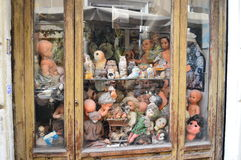 Old shop of dolls in rome Royalty Free Stock Photo