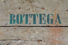 Old shop sign. Painted on a wooden door Royalty Free Illustration