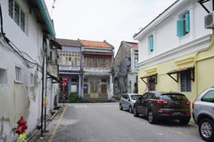 Old shophouse building on the street in the world heritage Georg Stock Photos