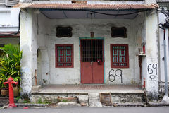 Old shophouse building on the street in the world heritage Georg Royalty Free Stock Photos
