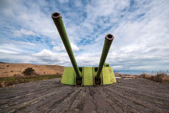Old shore battery cannon Royalty Free Stock Image