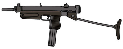 Old short automatic gun. Hand drawn vector illustration Stock Illustration