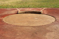 Old shot put circle and  field. In stadium Stock Photos