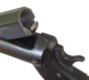 Old shotgun breech. Antique single-shot shotgun breech open to show the chamber Stock Photo