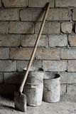 Old shovel and buckets Royalty Free Stock Photos