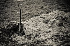 Old shovel sticks up in pile of earth. Sepia toned Royalty Free Stock Photos