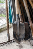 Old shovels rakes. Tool for working in the garden Royalty Free Stock Image