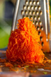 Old shredder residues with carrots Stock Photo