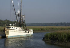 Old Shrimp Boat at Dock Royalty Free Stock Photos