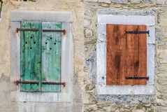Old shutters on a chalet. Old shutters on a mountain chalet in France Royalty Free Stock Images