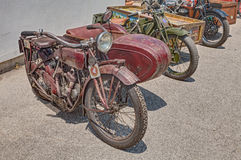 Old sidecar motorcycle Indian Scout Side 600 cc (1923) Royalty Free Stock Photo
