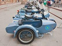 Old sidecar Moto Guzzi V7. Old sidecar motorcycle Moto Guzzi V7 belonged to the italian traffic police at exhibition La Moto Guzzi al servizio dello Stato, on Stock Photography