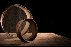Old sieves on a table royalty free stock photos