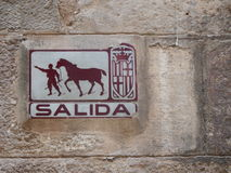 Old sign in Barcelona Gotic Barrio Stock Photo