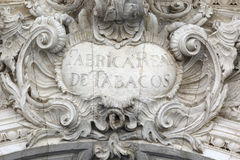 Old sign, Fabrica Real de tabacos in Sevilla Royalty Free Stock Photos
