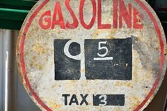 Old sign with gas prices. Old sign with gas prices in Illinois Royalty Free Stock Images