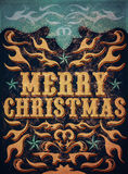 Old Sign, Vintage Merry Christmas poster Stock Photos