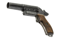 Old signal pistol, flare gun with the hammer cocked, isolated. On white background Stock Photos