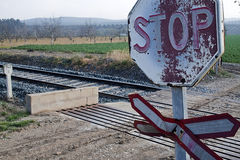 Old signs of level crossing without barriers Stock Photos