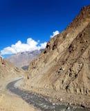 Old Silk Road of Karakoram Highway. A Narrow Path of the Karakoram Highway along the Indus River Royalty Free Stock Image