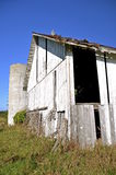 Old silo and abandoned white barn Stock Images