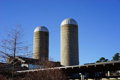 Old silos meet new agricultural education Stock Photo
