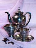 Old silver. Silver coffee service of the 19th eyelid, coffee pot, milk jug Stock Photography
