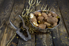 Old silver bowl mit walnuts and nutcracker for christmas. Stock Image