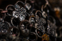 Old silver bracelet background Stock Images