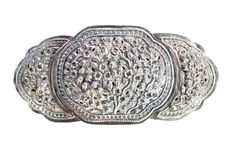 Old silver buckle. Vintage silver buckle for woman dressing Royalty Free Stock Photos