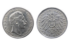 Old silver coin of German Reich. Two sides of old silver coin of German Reich minted in 1907 isolated on white Stock Photos