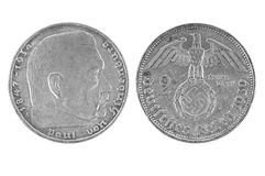 Old silver coin Germany 2 Deutsch marks 1939 Royalty Free Stock Images