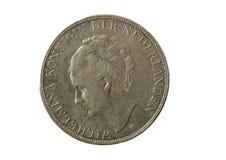 Old silver coin 2 1/2 gulden, wilhelmina koningin der nederlande Royalty Free Stock Photography