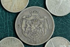 Old silver coin Stock Photos