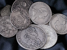 Old silver coins Stock Photography