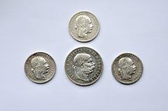 Silver coins Austria stock photography