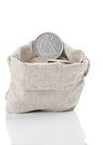 Old silver coins in bag Royalty Free Stock Photos