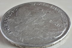 Old silver coins. Detailed view of old silver coins, year 1775, Patrona Bavariae Stock Images