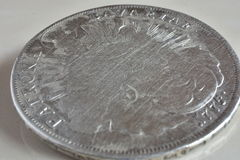 Old silver coins. Detailed view of old silver coins, year 1775, Patrona Bavariae Stock Image
