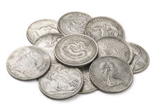 Old silver coins Stock Photos