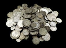 Old silver coins Royalty Free Stock Images