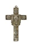 Old silver cross against white background Royalty Free Stock Photography