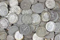 Old silver dimes Royalty Free Stock Photo