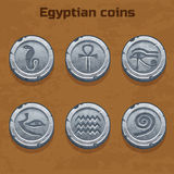 Old silver Egyptian coins, game element Royalty Free Stock Photos