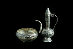 Old silver ewer container pour water, Buddhism Stock Images