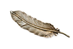 Old silver feather brooch Royalty Free Stock Images