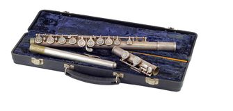 Old Silver Flute, isolated Stock Images