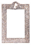Old silver frame. Old silver shiny frame with rich ornament for mirror Stock Photography
