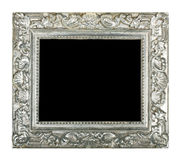 Old silver frame. Isolated on white background Stock Photos